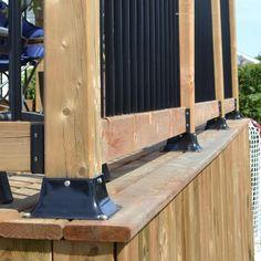 Pylex Decking Post Base 44 Black - The Home Depot Corner Deck, Wood Deck Railing, Deck Gate, Trek Deck, Deck Fire Pit, Deck Posts, Steel Fabrication, Outdoor Spaces, Outdoor Decor
