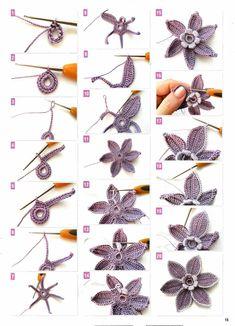 Form Crochet, Crochet Chart, Learn To Crochet, Crochet Motif, Irish Crochet Patterns, Beginner Knitting Patterns, Yarn Flowers, Knitted Flowers, Crochet Butterfly