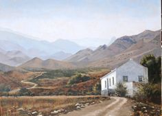 Near Prins Albert, great Karoo. Painting for International Artist Magazine House Landscape, Landscape Photos, Landscape Photography, Coastal Country, Country Art, Pictures To Paint, Cool Pictures, Farmhouse Paintings, Africa Painting