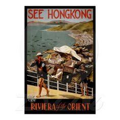 Hong Kong China ~ Vintage Travel Ad Posters
