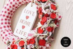 H.O.M.E. #Dress #Up #Your #Door or #Wall with this #DIY #red and #white #love #home #life #wreath #handmade #interior #decoration Love Home, Christmas Wreaths, Decoration, Holiday Decor, Interior, Wall, Red, Handmade, Life