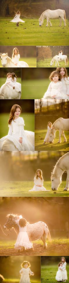 sisters with white horse in back lighting