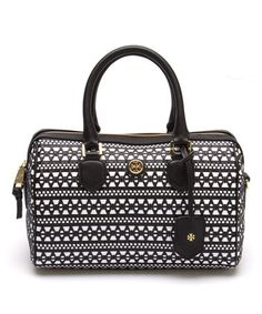 Look what I found on #zulily! Black & White Robinson Woven Leather Satchel #zulilyfinds