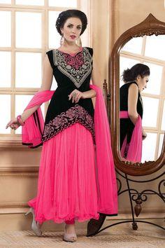 Pink Net Designer #AnarkaliSuit. http://www.lashkaraa.com/new-arrivals.html