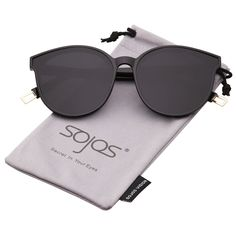 c8e2bf3347 SOJOS Fashion Round Sunglasses for Women Oversized Vintage Shades Flat  Lenses with Black Frame Grey Lens