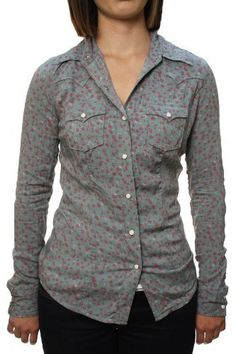 "True Religion Women's ""L/S Mick Lawn Western"" Cowgirl Rose Pattern Button Down Shirt Faded Green True Religion. $92.97"