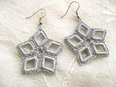 Hand Crocheted  Star Dangle Earrings in Silver by accessoriesbynez, $16.00