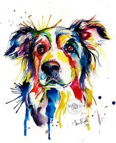 If you love Border Collies, youll like this painting! This is a print of my original watercolor painting in bright and bold colors and some spatters.