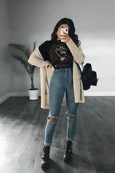 Tomboy Outfits, Curvy Outfits, Mode Outfits, Grunge Outfits, Grunge Fashion, Cute Casual Outfits, Stylish Outfits, Fashion Fashion, Hippie Outfits