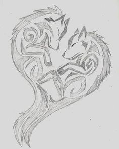 Wolf Tribal Heart by wolfhappy on DeviantArt Tribal Drawings, Cute Drawings, Drawing Sketches, Tribal Tattoos, Wolf Tattoo Tribal, Cute Couple Drawings, Wing Tattoos, Celtic Tattoos, Tatoos