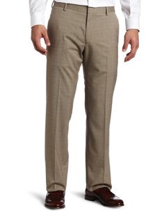 Haggar Men's Sharkskin Plaid Straight Fit Plain Front Pant