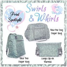 Swirls and Whirls Baby product spotlight by print.  Graphic for Facebook VIP group.  Thirty-One spring/summer 2018 www.mythirtyone.ca/sabrinawhite