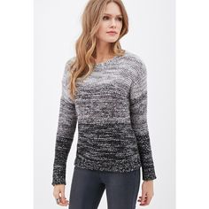 Love 21 Marled Knit Ombre Sweater (22 CAD) ❤ liked on Polyvore featuring tops, sweaters, women sweaters, women tops, layered sweater, crew neck sweaters and henley sweater