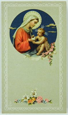 Blessed Mother and Baby Jesus Holy Card Vintage Lithographed Italy Inscription by Nun