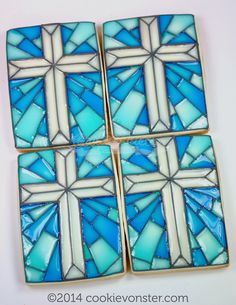 Stain Glass Cross Cookie Shortbread cookie Baptism favours
