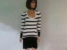 Victoria's Secret Kiss of Cashmere LS Scoopeck Peplum Sweaterdress White/Black S #VictoriasSecret #SweaterDress #Cocktail