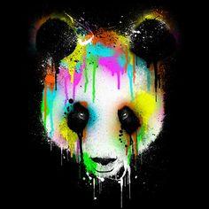 panda drip paint rainbow color cool tshirt tee design art