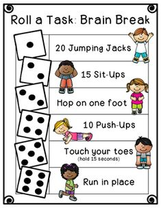 Quick and easy brain breaks! Roll a Task: Brain Break Physical Activities For Kids, Gross Motor Activities, Toddler Activities, Fun Activities, Nature Activities, Kids Games To Play, Kids Brain Games, Preschool Activities At Home, Human Body Activities