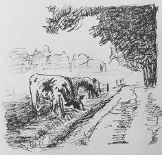 Schetsje van koeien in een weiland. November 2016