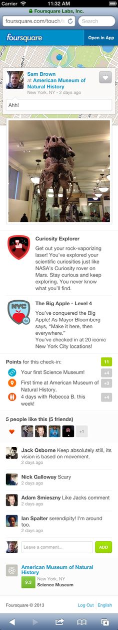 Foursquare launches new check-in pages on mobile Web, revealing more details outside of the app