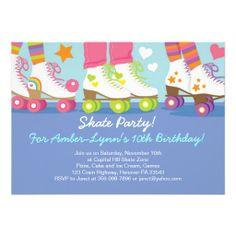 Roller Skating Party Birthday Invitations.  $2.65