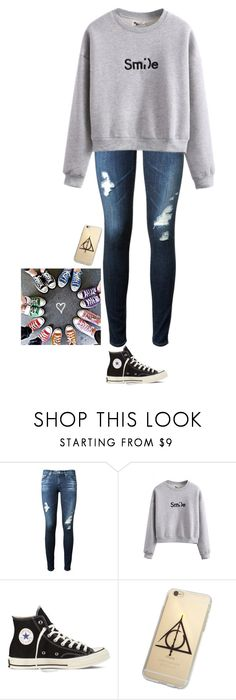 """""""Sm;)e"""" by neb1211 ❤ liked on Polyvore featuring AG Adriano Goldschmied and Converse"""
