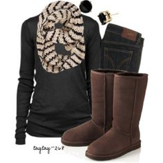 Swap the uggs for leather riding boots & you've got a great outfit!