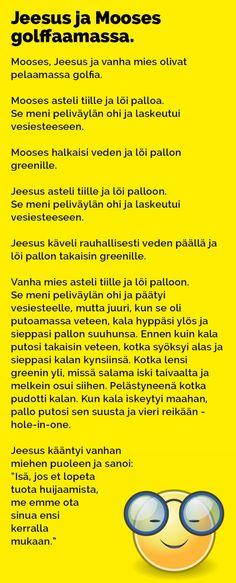 Vitsit: Jeesus ja Mooses golffaamassa - Kohokohta.com Haha, Comics, Funny, Ha Ha, Funny Parenting, Cartoons, Comic, Hilarious, Comics And Cartoons
