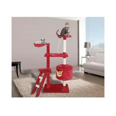 Red White Cat Tower Condo Furniture Scratch Post Bed Basket Most Viewed ** Don't get left behind, see this great cat product : Cat scratching post Cat Tree House, Cat Tree Condo, Furniture Scratches, Hammock Bed, Cat Playground, Indoor Playground, Condo Furniture, Cat Tunnel, Cat Scratching Post