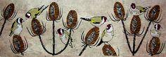A Charm of Goldfinches ~ artist Lisa Hooper  #art #linocut #print