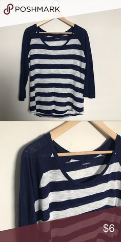 Blue and white striped tee Blue and white striped baseball style tee from Express. Semi sheer.  Size large.  Excellent used condition. Express Tops Tees - Long Sleeve