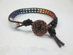 Men's Balance 7 Chakras Gemstone Single Wrap Leather Bracelet, Copper Button $39 Healing Crystal Jewelry http://www.healingcrystaljewelry.ca/collections/men-s-jewelry/products/men-s-balance-7-chakra-gemstone-single-wrap-leather-bracelet-copper-tierracast-button
