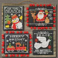 Tiny Modernist Chalkboard Christmas Greetings - Cross Stitch Pattern.