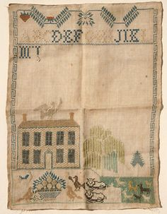 AMAZING UNFINISHED EARLY AMERICAN ! ANTIQUE NEEDLEWORK SAMPLER 19th Century