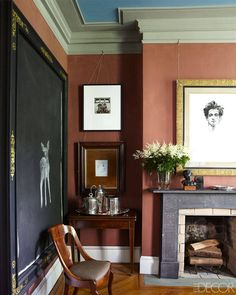 HOUSE TOUR: Behind A Decaying Facade, A Shockingly Refined Retreat In Brooklyn. He may be a furniture restorer to the stars, but in his own Brooklyn townhouse, Karl Kipfmueller opts for the worn and the faded Brooklyn, Style Empire, A Frame Cabin, Interior Decorating, Interior Design, Fireplace Design, Fireplace Art, Fireplaces, Home Living
