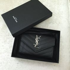 2016 YSL Small Monogram Envelope Wallet in Black Grain De Poudre Textured Matelasse Leather