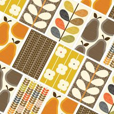 Orla Kiely Stationery, pear, design, mid century, illustration, 70s, repeat pattern