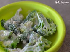 My little one absolutely loves this. She can spend ages sucking all the cream cheese of the broccoli and then of course eats the broccoli too. It is so quick and easy to make too. Broccoli and Chee...