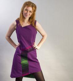Šaty Natura Rainbow Lněné šaty asymetrického střihu s všitými pruhy  džinoviny ručně barvené kvalitními barvami české c987c90a015