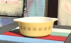1960s  Vintage PYREX Yellow Town and Country Pattern 1 1/2 pt Casserole Dish #472 Round with Cinderella Handles by ShowMeShabby on Etsy