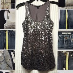 EXPRESS tank top size: XS Worn once! Perfect condition! Sequin silver tank top XS. Ombré Express Tops Tank Tops