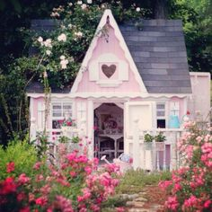 Shabby Chic Garden Shed | Shabby chic cottage/shed with garden of pink flowers