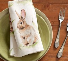 Pasture Bunny Napkin, Set of 4   Pottery Barn