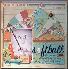 """scrapbooking layouts   Scrapbook Page Layouts By Top Designers - """"Softball Cutie"""" from Crate ..."""