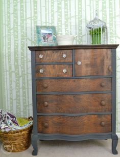 oak antique dresser with two toned grey gray paint and wood stain