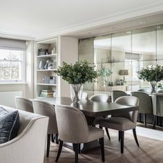 72 the best small dining room design ideas that you can try in your home 9 Dining Room Mirror Wall, Living Room Mirrors, Dining Room Walls, Dining Room Design, Wall Mirror Ideas, Mirror Collage, Mirror Bedroom, Wall Mirrors, Mirror Mirror
