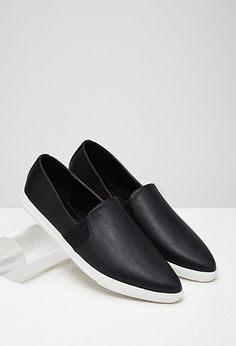 Pointed Faux Leather Slip-Ons   Forever 21 - 2000077500