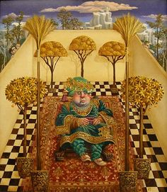 "James Christensen                                                           ""Rich Man's garden"", Oil on panel."