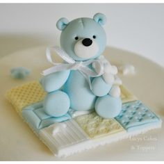 3 Teddy Cake Topper Decoration Set (blue)