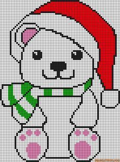Alpha friendship bracelet pattern added by polar bear christmas cute santa. Xmas Cross Stitch, Cross Stitch Charts, Cross Stitch Designs, Cross Stitching, Cross Stitch Patterns, Plastic Canvas Christmas, Plastic Canvas Crafts, Plastic Canvas Patterns, Polar Bear Christmas